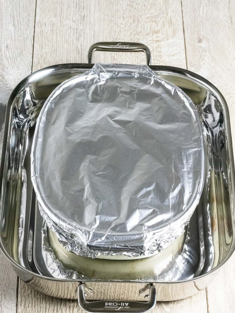 baking dish covered with foil