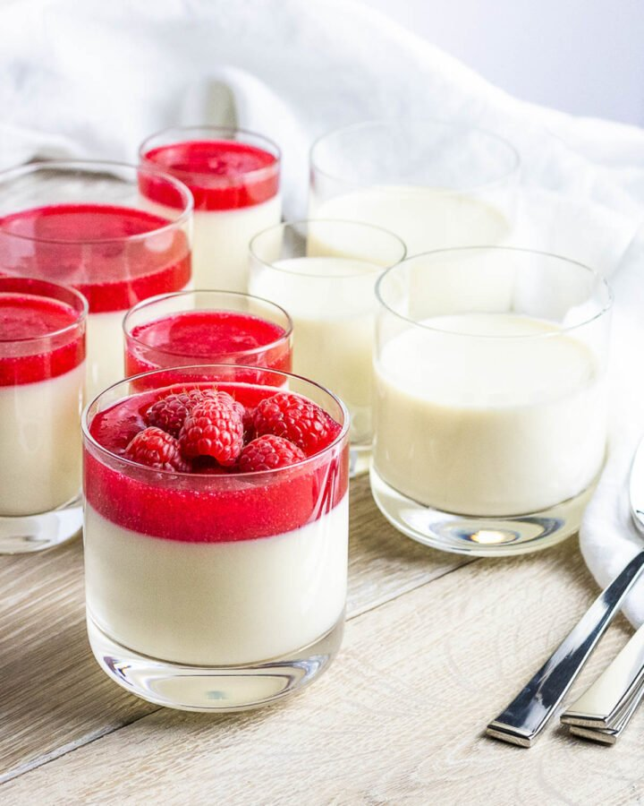 panna cotta with raspberries and red berry sauce