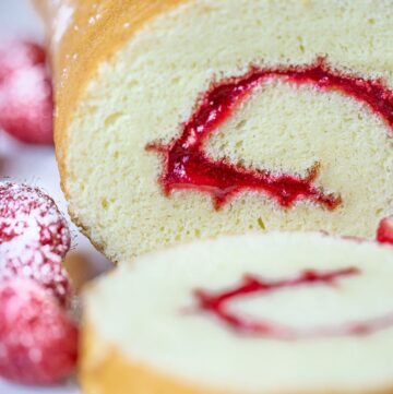 swiss roll cake with jam