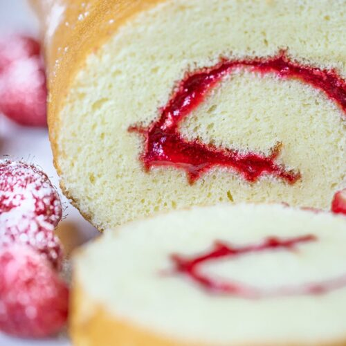 swiss roll cake with jam