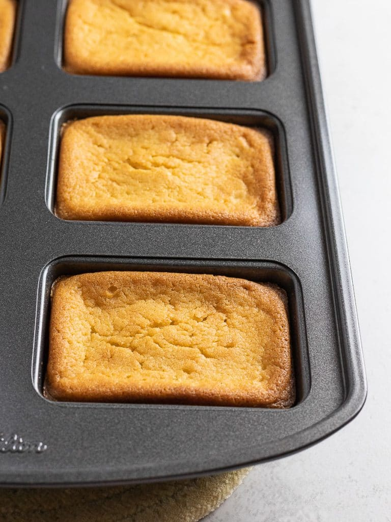 butter mochi baked in a mini loaf pan