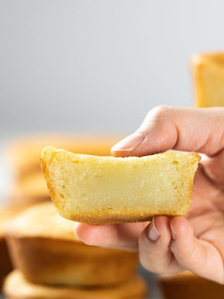 butter mochi held in hand