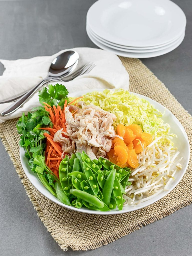 healthy Chinese chicken salad in a white plate
