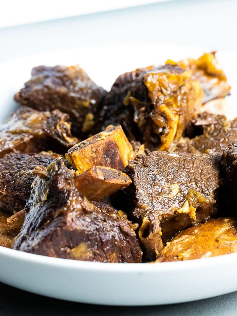 Instant Pot cooked Korean short ribs in white bowl