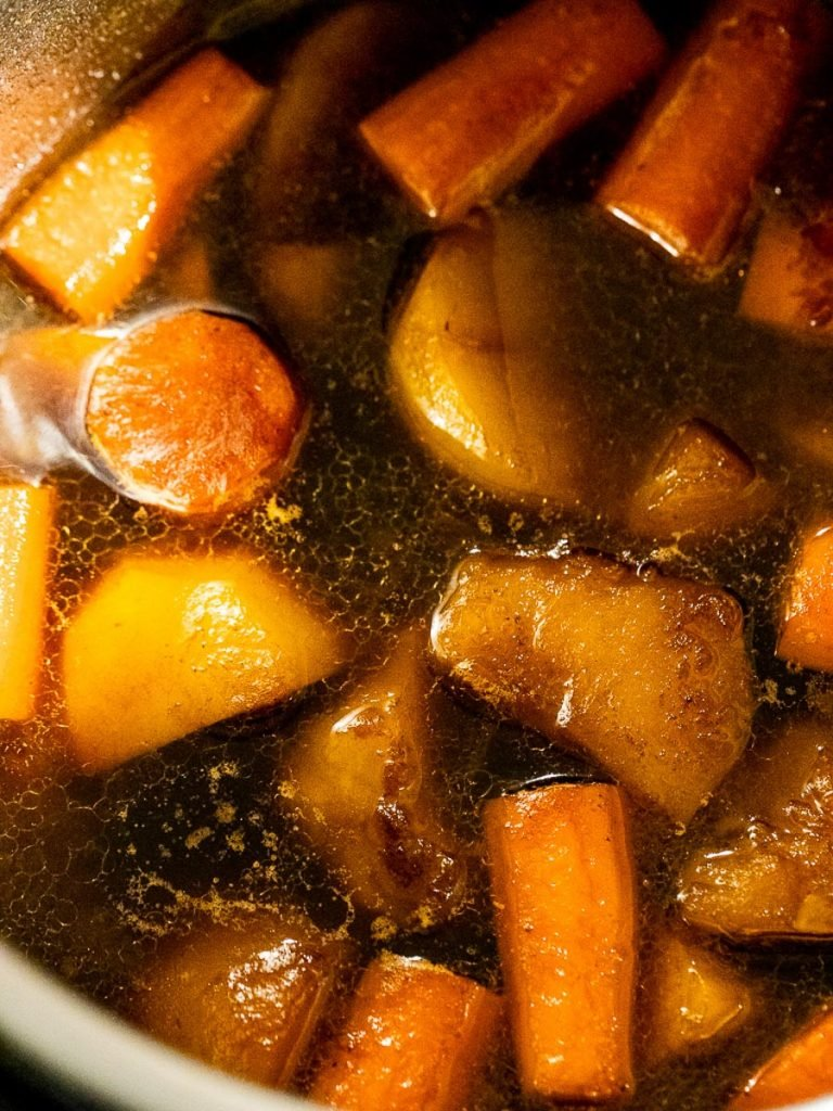 Potatoes and carrots in Korean style sauce