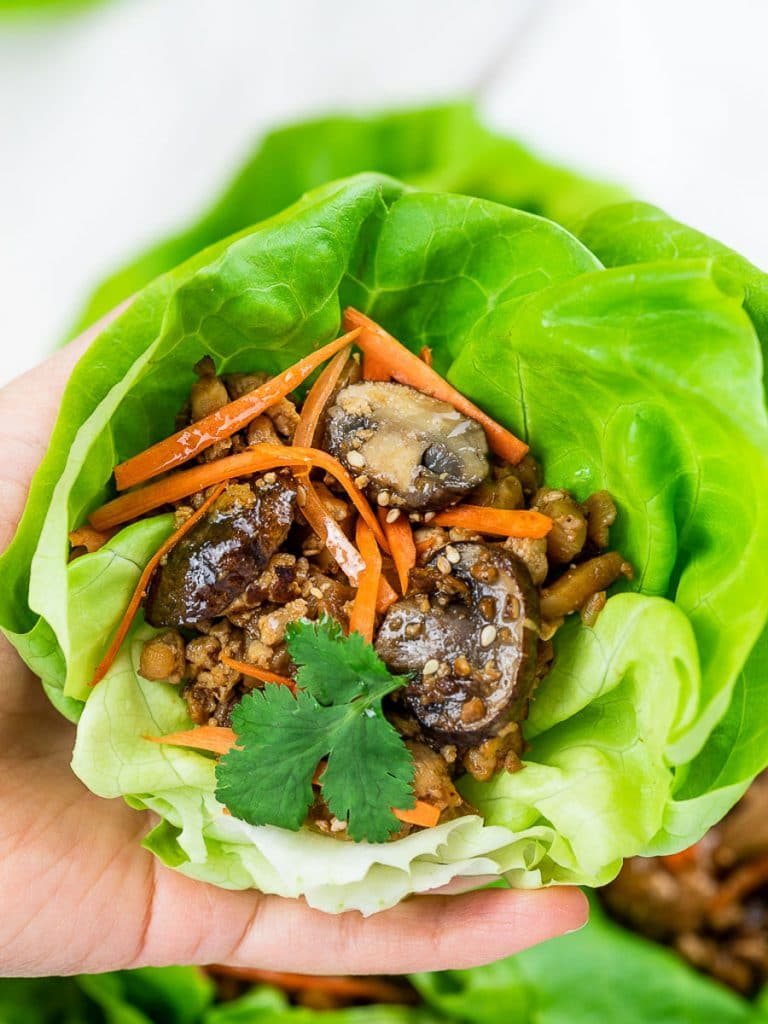PF Chang's vegetarian lettuce wraps with tofu, mushrooms, carrots, and lettuce