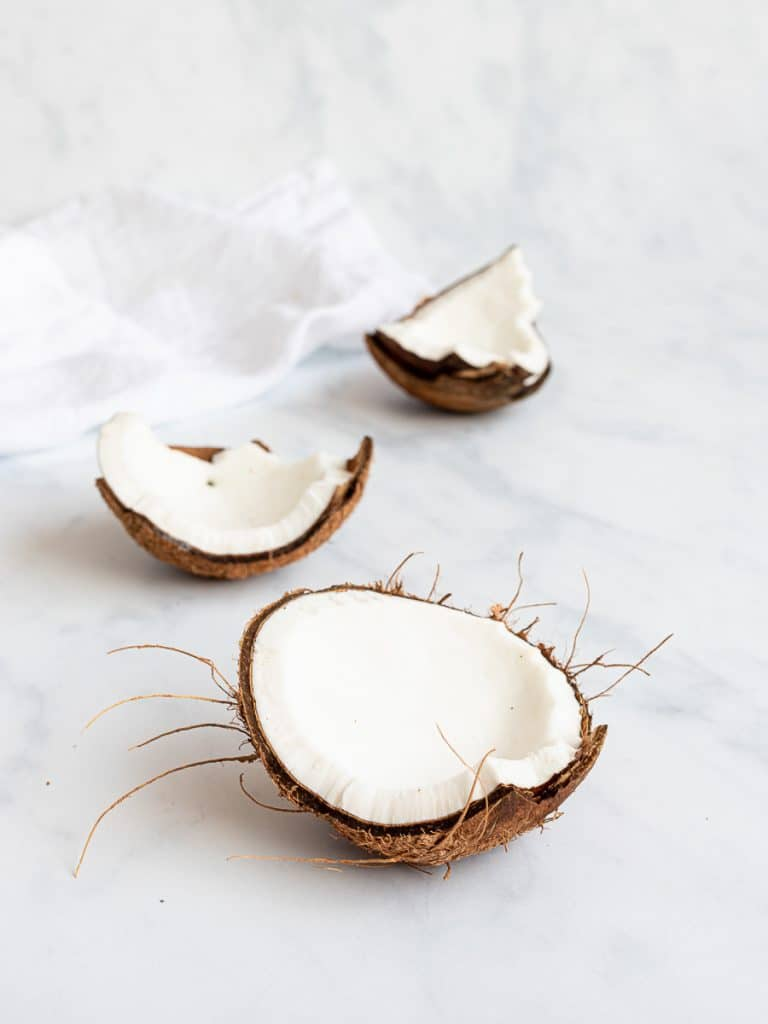 Mature coconut cracked open