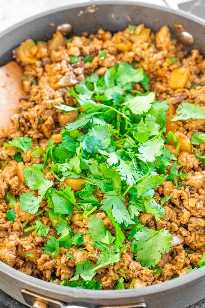 chicken lettuce wrap filling with ground chicken and cilantro