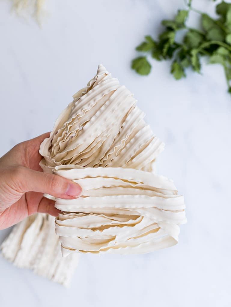 Asian flat wide noodles.
