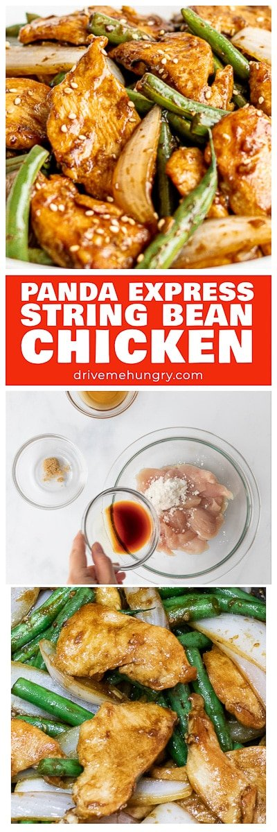 Try this Panda Express String Bean Chicken Breast Copycat! Tender chicken and green beans stir fried with a delicious Asian soy ginger garlic sauce! #stringbeanchicken #chickenstirfry #chickenbreast #pandaexpress   drivemehungry.com