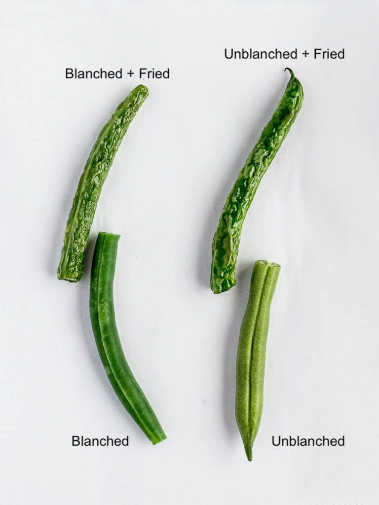blanched and dry fried green beans comparison