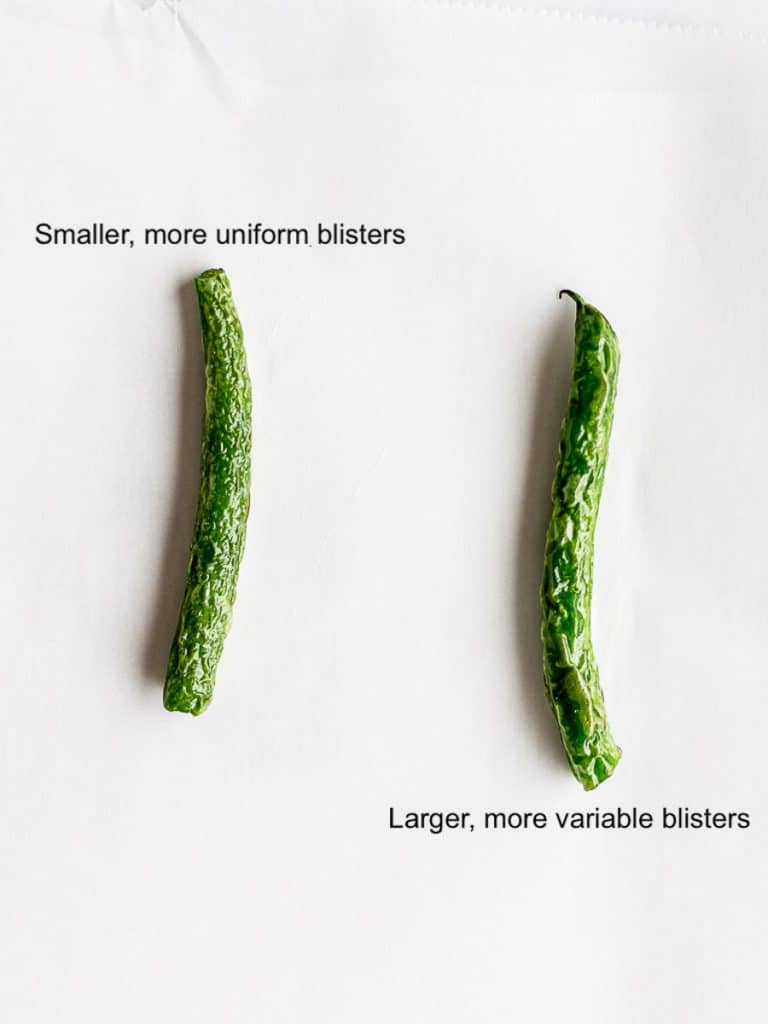 blistered green beans when blanched comparison