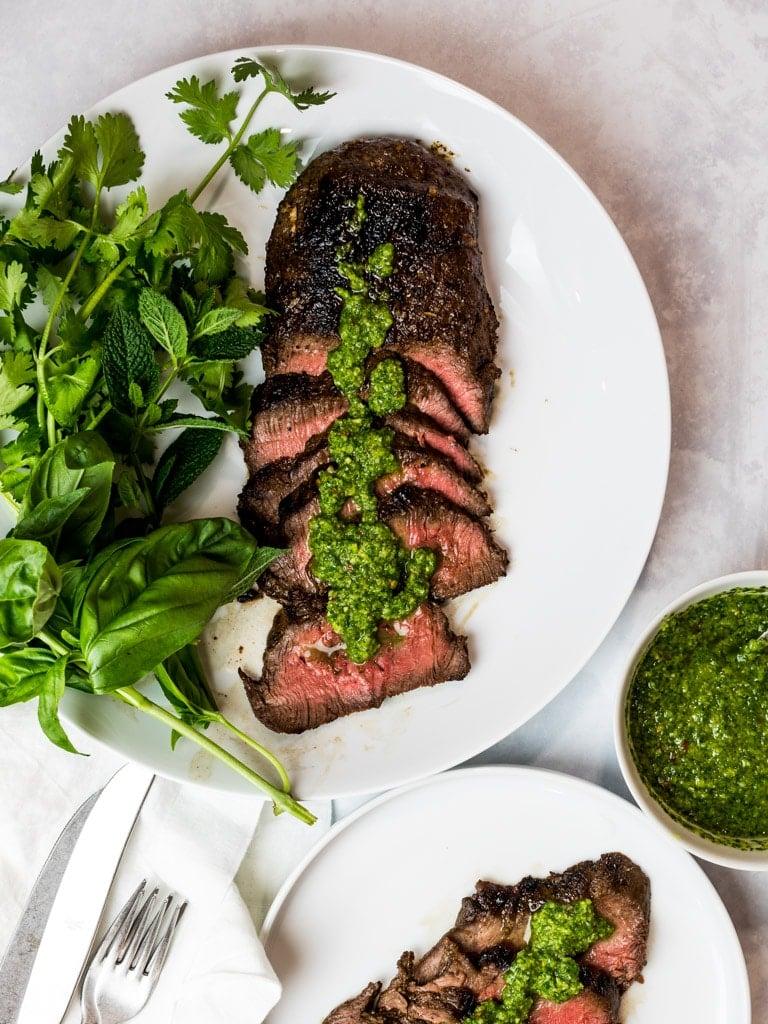 Asian marinated flank steak, chimichurri steak