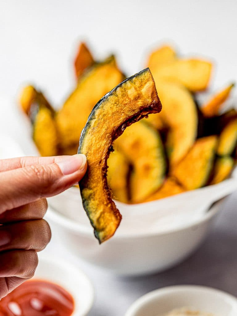 kabocha squash fries held in hand