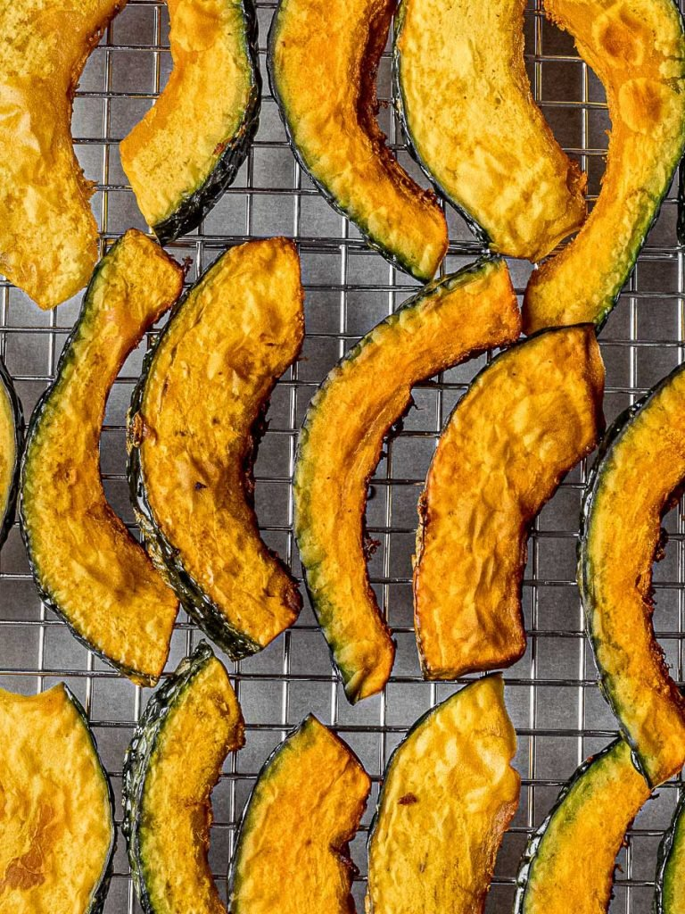 kabocha squash fries on a cooling rack