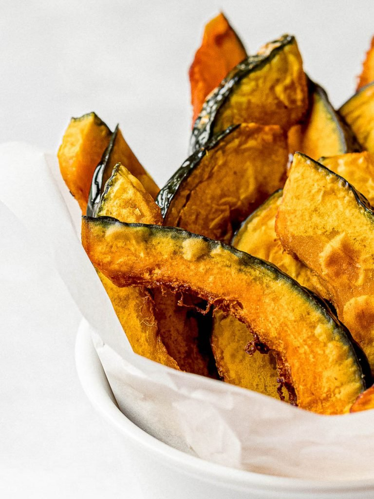 kabocha squash fries in a white bowl