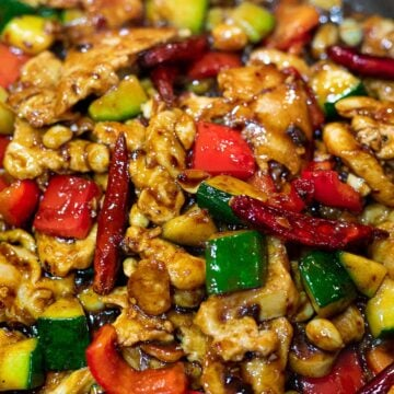 Panda Express Kung Pao Chicken copycat in a pan