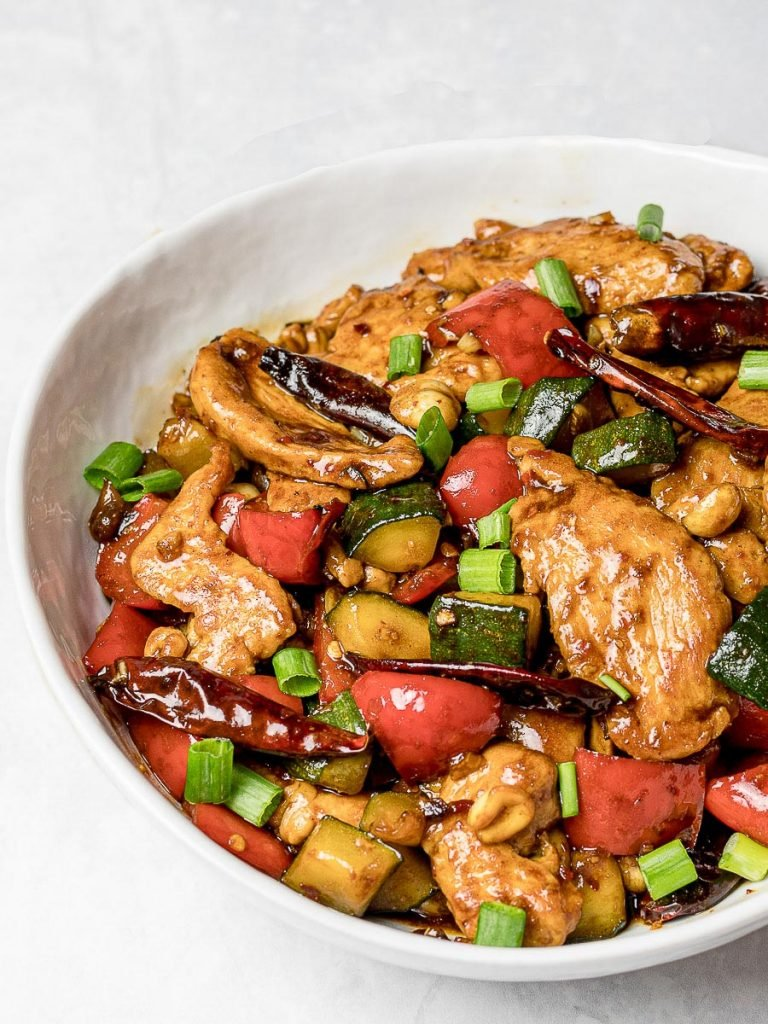 Panda Express Kung Pao Chicken Copycat in a white bowl