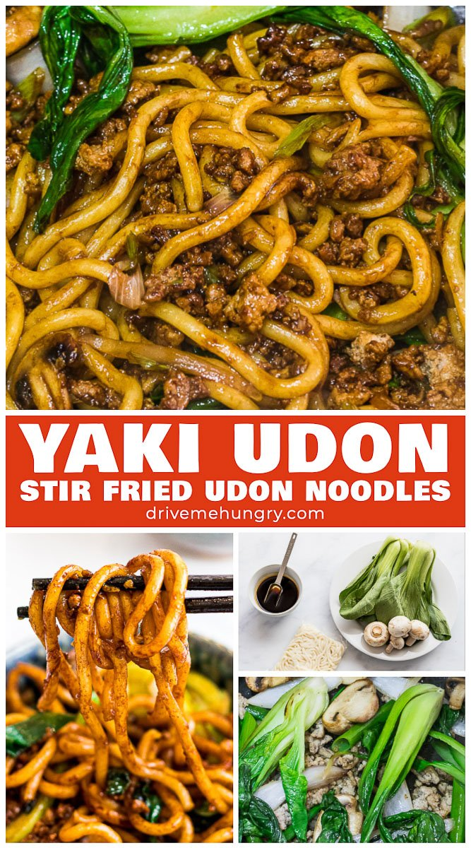Yaki udon is an easy Japanese stir fried udon noodle recipe ready in 20 minutes! Stir fried udon noodles with a savory 5 ingredient yaki udon noodle sauce. #yakiudon #udonnoodles #stirfriedudonnoodles #asiannoodles | drivemehungry.com