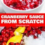 cranberry sauce from scratch with lemon peel