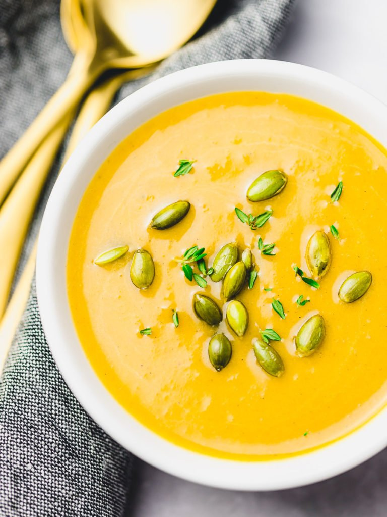Instant Pot Vegan Butternut Squash Soup, Panera autumn squash soup in a white bowl