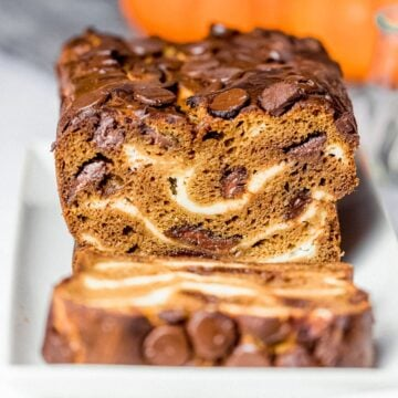 pumpkin chocolate chip bread with cream cheese swirls