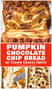 pumpkin chocolate chip bread with cream cheese swirls