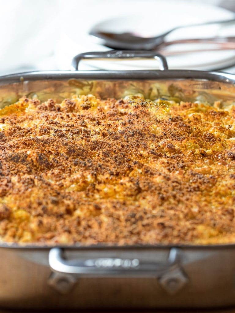 casserole dish with Southern Baked Mac and Cheese with Breadcrumb topping