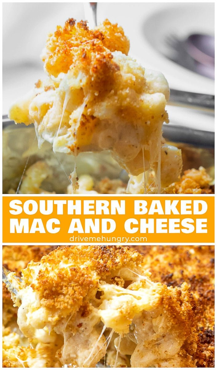Southern baked mac and cheese with a crunchy, golden brown breadcrumb topping! Made with gruyere and white cheddar cheese. Creamy, cheesy, and comforting!   drivemehungry.com