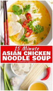 15 minute Asian chicken noodle soup
