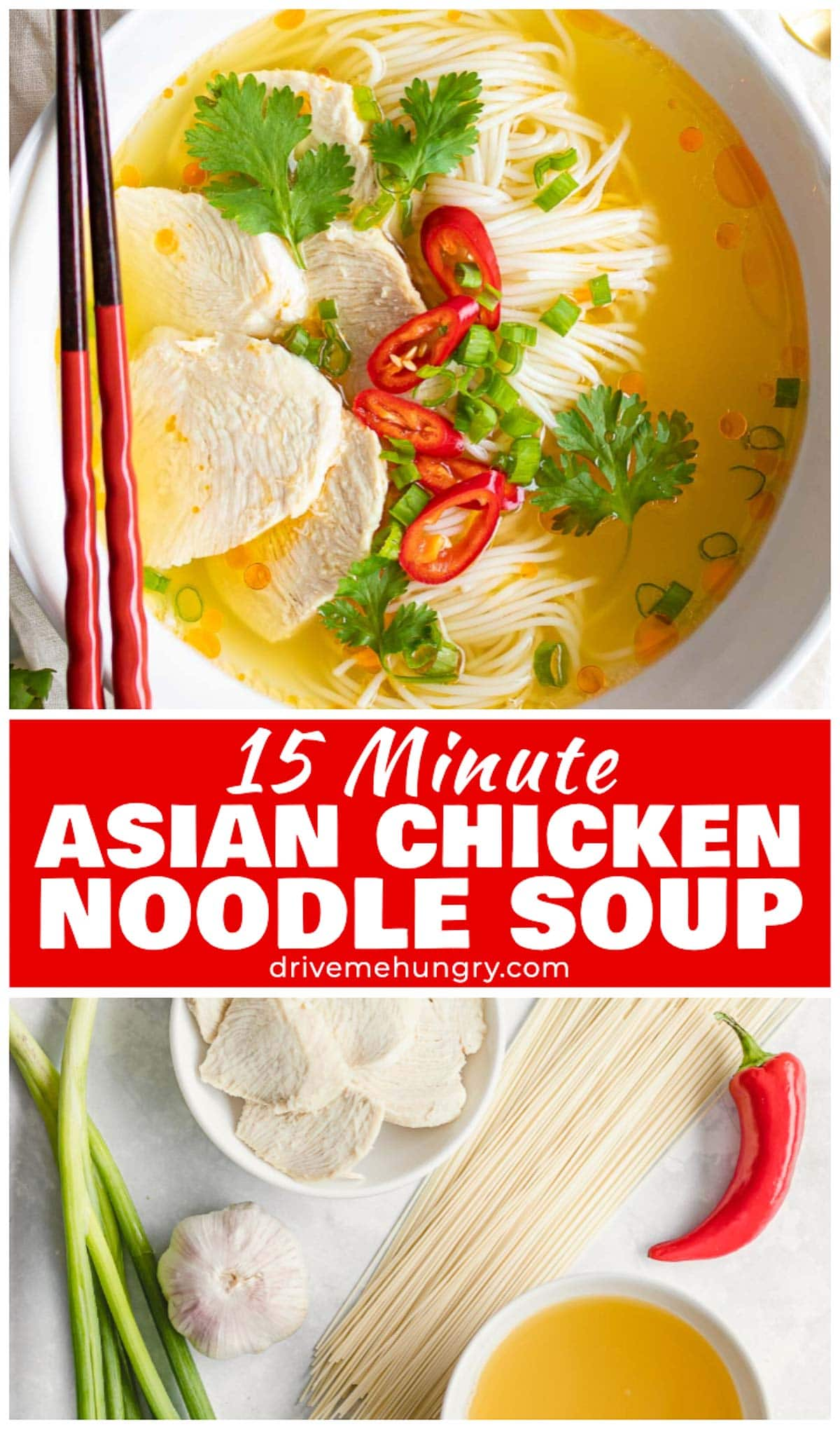 Easy 15 minute Asian chicken noodle soup made with a delicious Asian style broth flavored with garlic, ginger & hot chili oil. Made with thin somen noodles, chicken breast, and fresh herbs. This healthy Asian chicken noodle soup will warm you from the inside out. The perfect soup for cold & flu season! #asiansoups #asiannoodlesoup #chickensoup #asianchickennoodlesoup #noodlesoups #chickennoodlesoup | drivemehungry.com