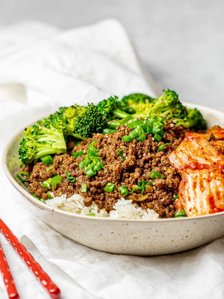 Korean bulgogi bowl with broccoli and kimchi; Korean beef bowl