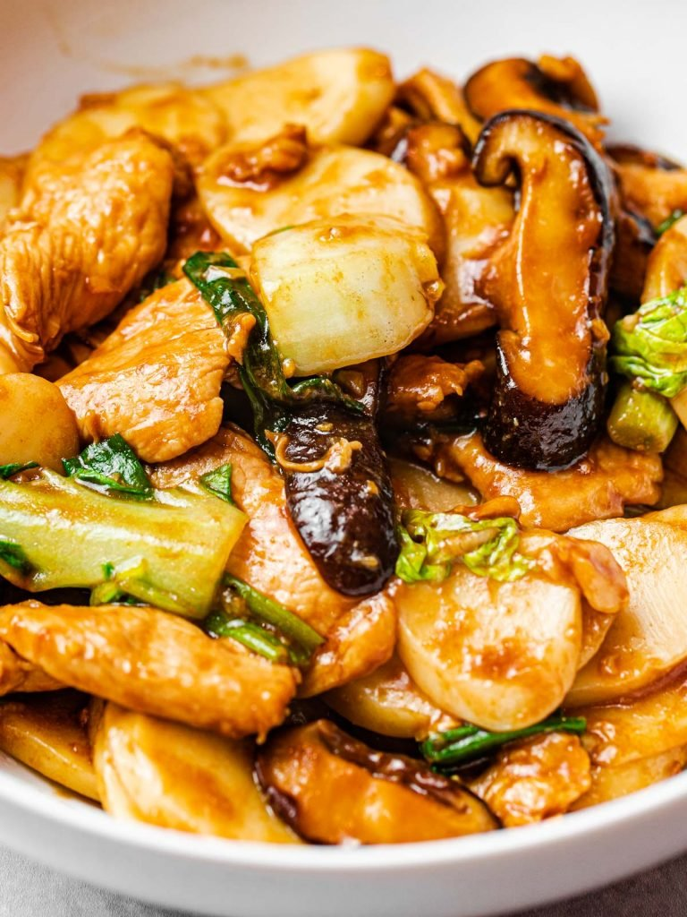 Stir fried Shanghai rice cakes with mushrooms, Din Tai Fung Shanghai rice cakes