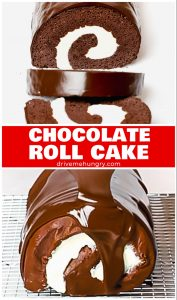 chocolate roll cake with cream filling and ganache