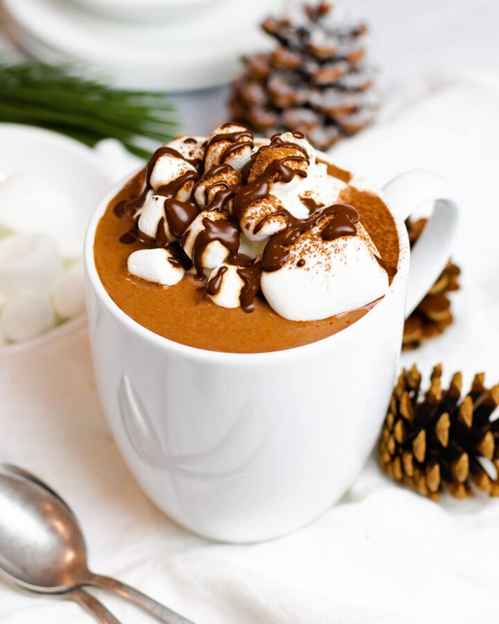 creamy homemade hot chocolate with marshmallows and chocolate syrup