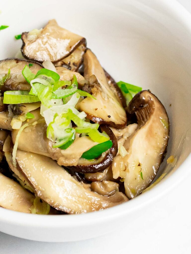 stir fried Korean shiitake mushroom side dish