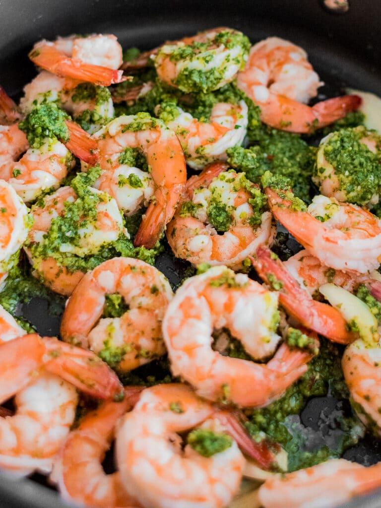 low carb keto cilantro lime shrimp in a pan