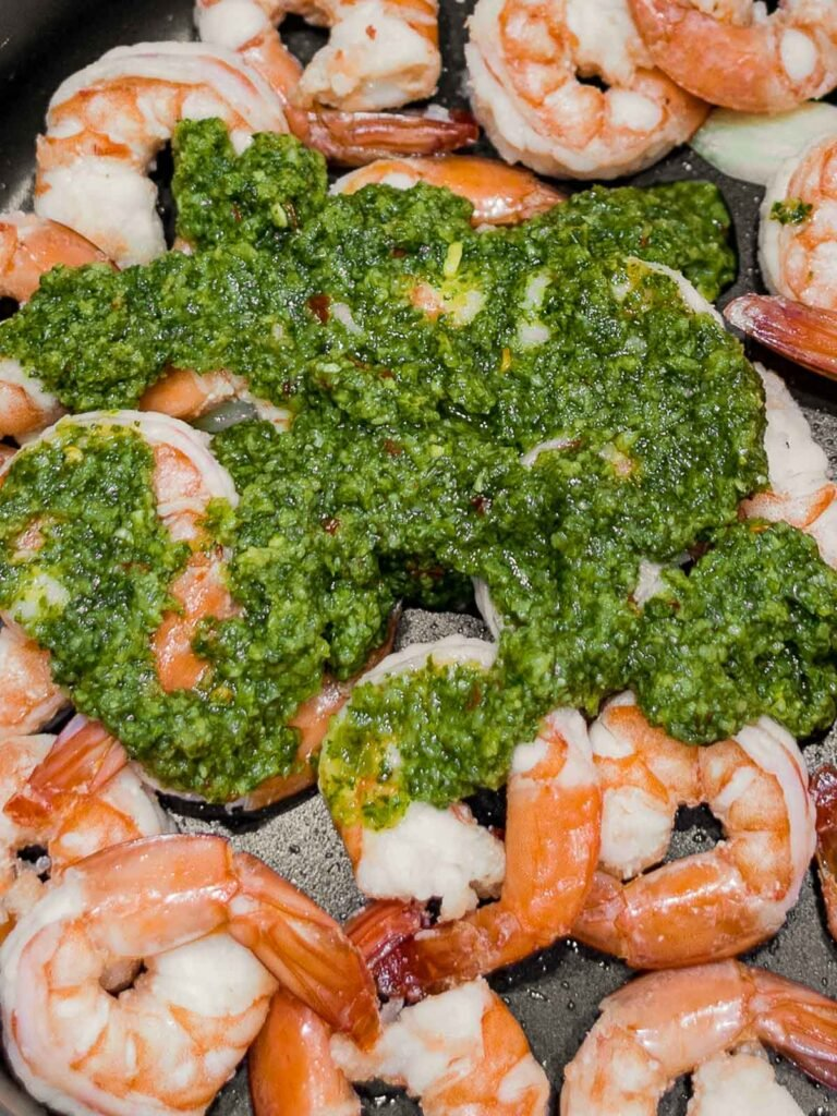 shrimp with cilantro lime sauce in a pan