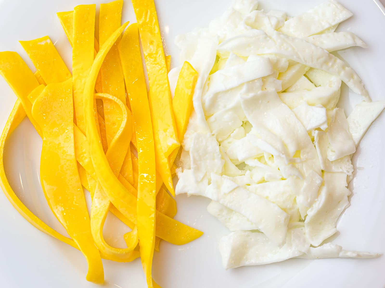 fried egg yolks and egg whites cut into strips