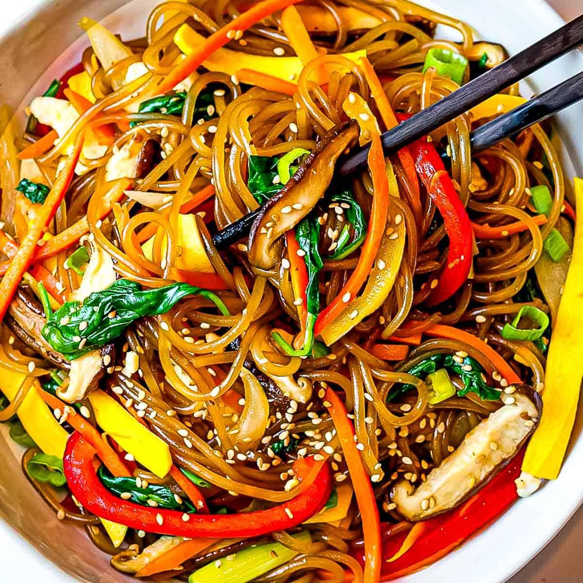 recipe of japchae Easy Japchae (Korean glass noodle stir fry)