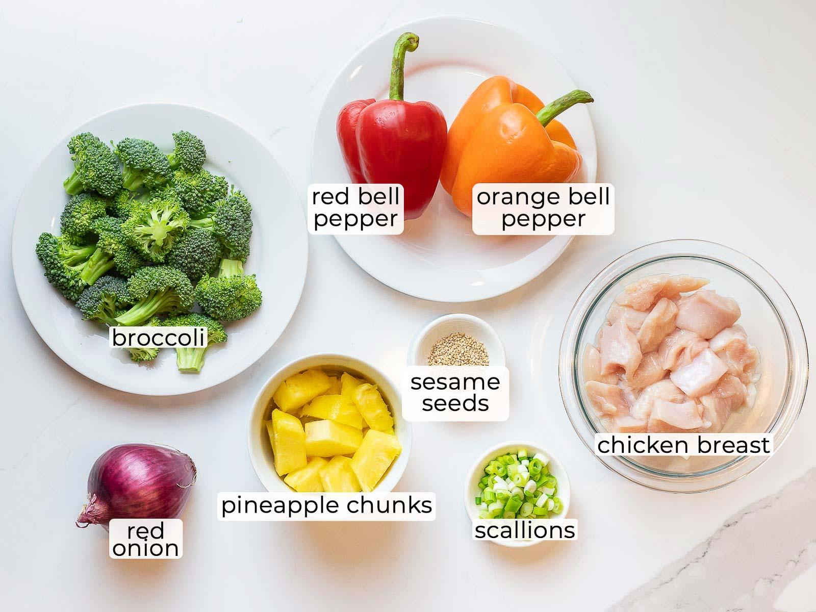 ingredients for pineapple chicken stir fry