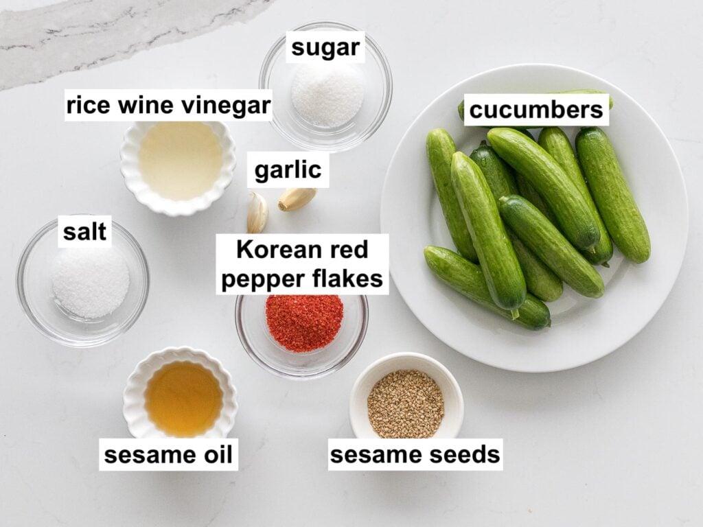 ingredients for spicy Korean cucumber salad