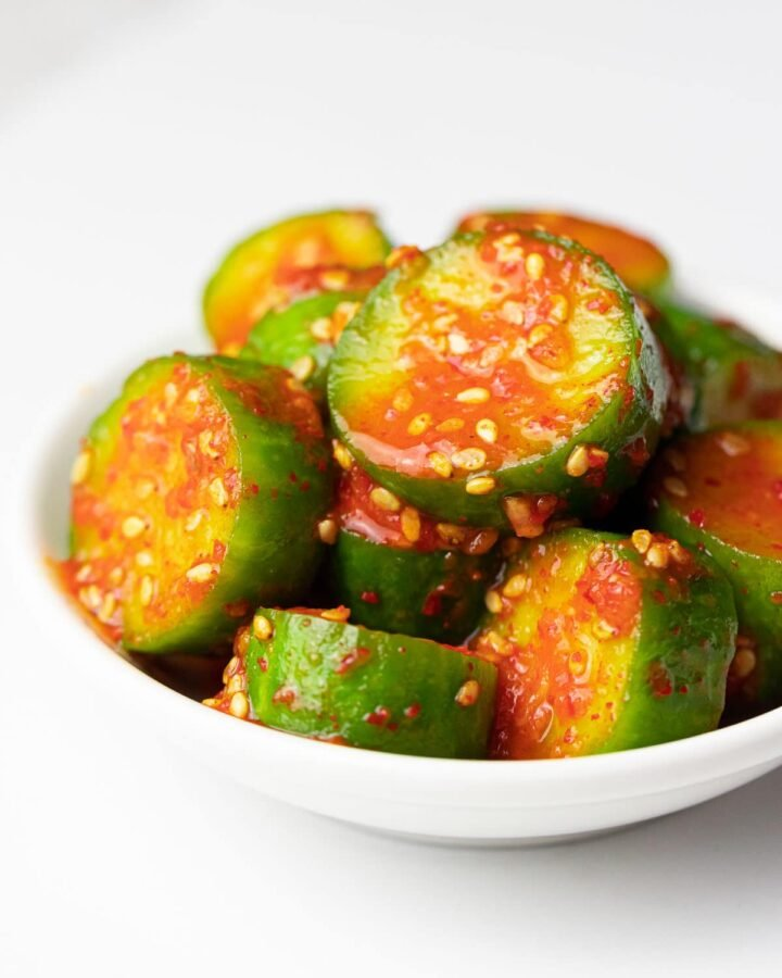 spicy Korean cucumber salad (Oi Muchim) with sesame seeds, oi muchim