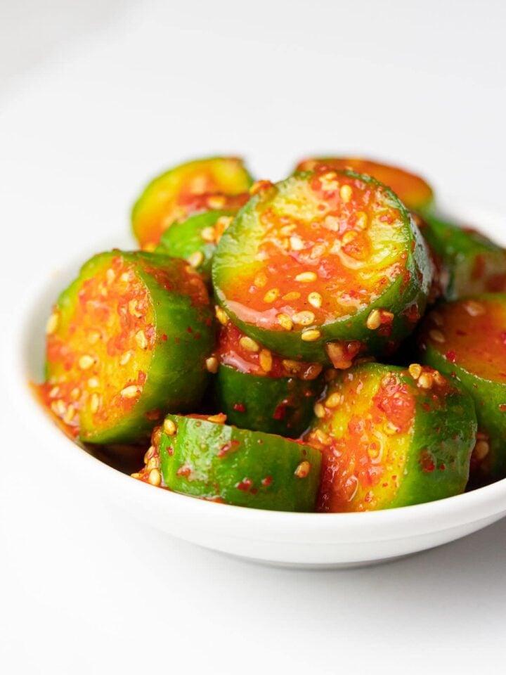 spicy Korean cucumber salad (Oi Muchim) with sesame seeds, oi muchim