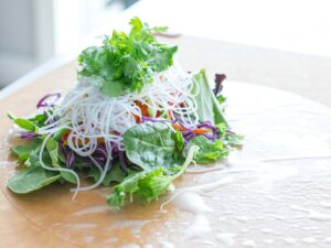 Vietnamese summer roll filling with vegetables and rice noodles on rice paper