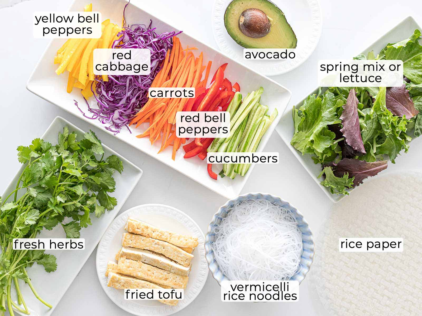 ingredients for Vietnamese vegetarian summer rolls with avocado and tofu