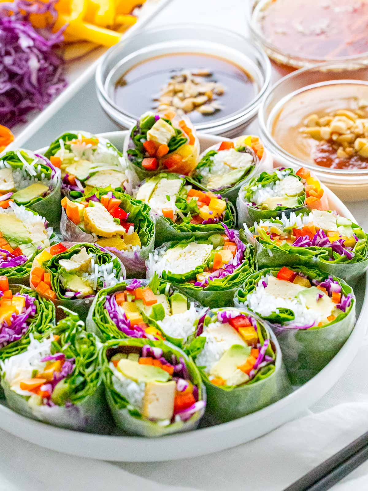 Vietnamese vegetarian summer rolls, goi cuon, with rainbow veggies, peanut sauce and hoisin sauce