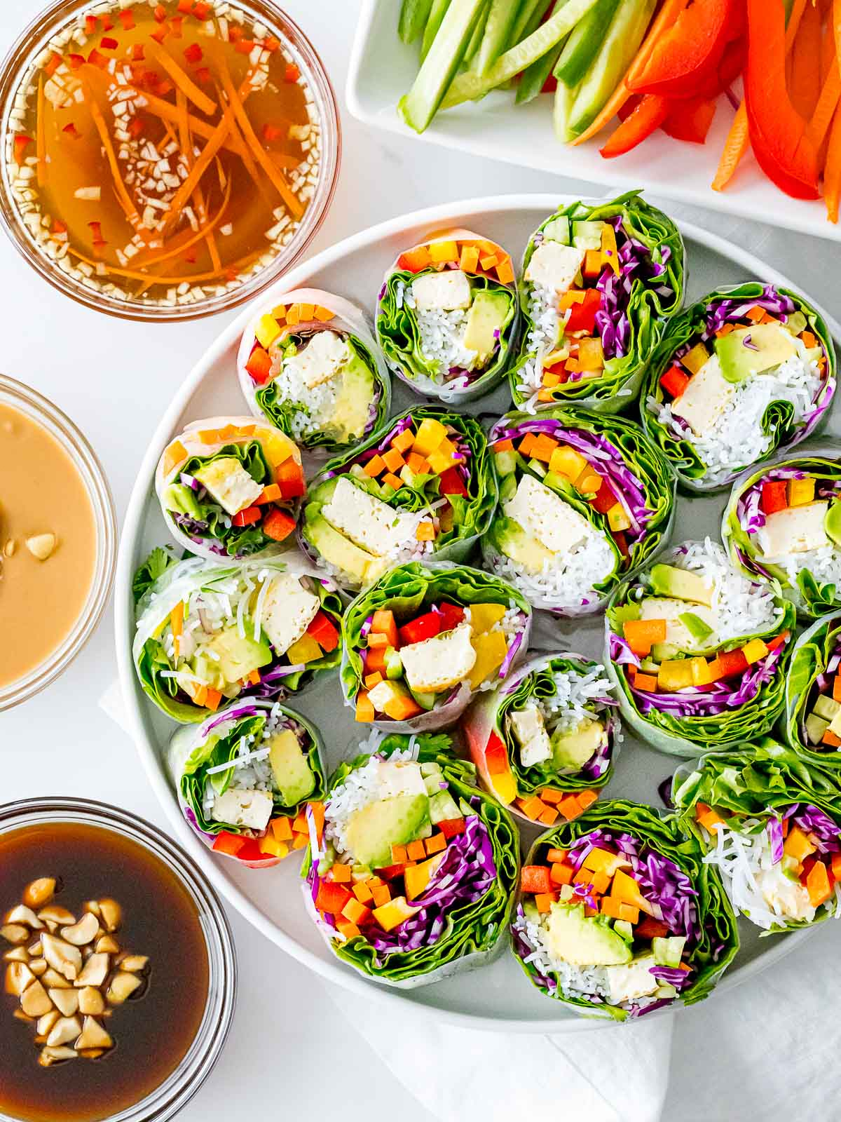 vegetarian summer rolls with rainbow veggies and dipping sauces