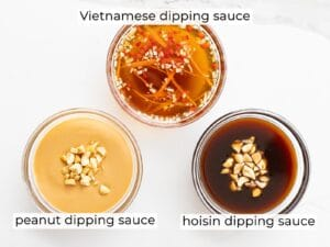 three spring roll dipping sauces including peanut, hoisin, and Vietnamese sauce