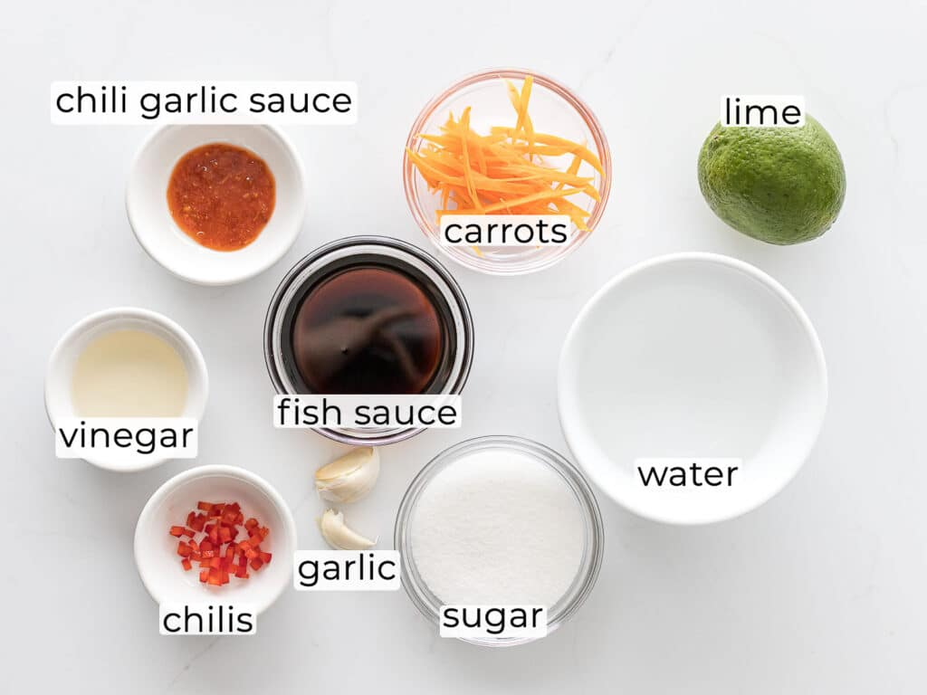 ingredients for Vietnamese dipping sauce